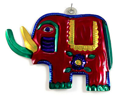 Elephant Hand-Punched Tin Ornament Colorful Mexican Folk Art