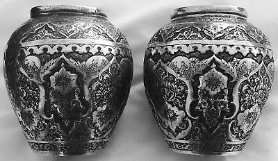 Fine Pair 2 Antique Middle Eastern Islamic Solid Silver Vases; Late Qajar c1920