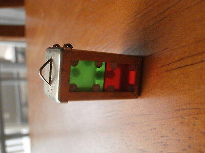 Vintage Crisloid Red Green Dice Pair Holder Pendant Key Chain Fob die pair clear