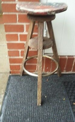 Large Antique Vintage Industrial Factory Work Stool