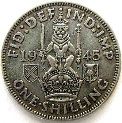 Great Britain Uk Coins, One Shilling 1945, Scottish, George Vi, Silver 0.500