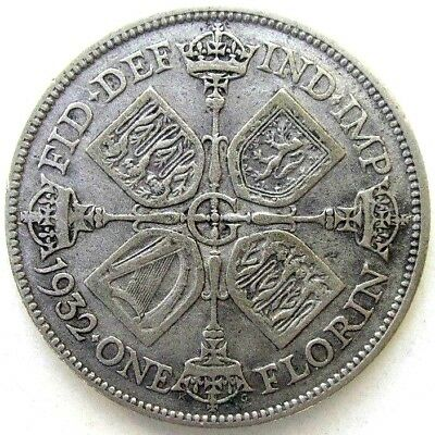 Great Britain Uk Coins, One Florin 1932, George V, Silver 0.500