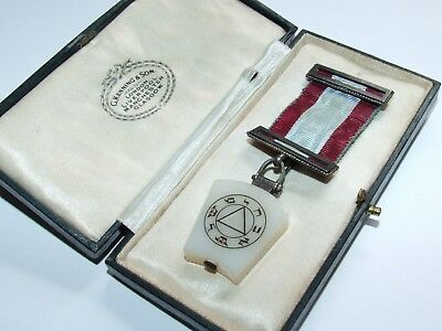 Antique c1900 Silver Masonic Keystone Mark Degree Provincial Breast Jewel Boxed