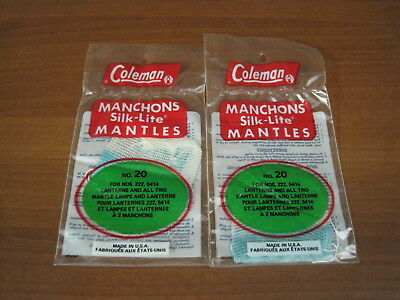 2 New Old Stock Vintage Coleman Silk-Lite No. 20 Mantles Made in USA