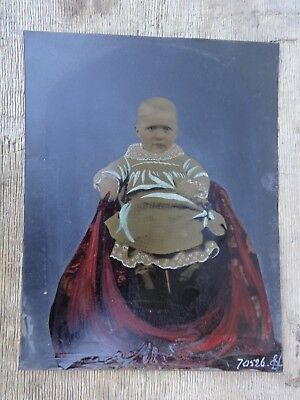 Antique Vintage Full Plate Tintype Color Photograph Young Child Hand Painted