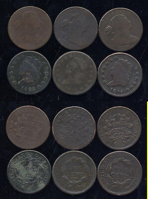 Lot Of 6 Draped And Classic Large Cents-1801-1802-1803-1808-1812-1814