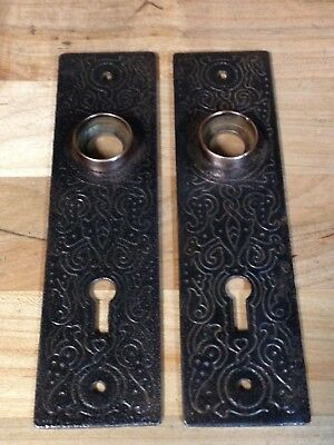 2 Antique Vintage Cast Iron Door Knob Lock Key Hole Plate Parts