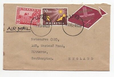 1963 MALAYSIA Air Mail Cover TAPAH to BITTERNE SOUTHAMPTON GB Inst Malay Land