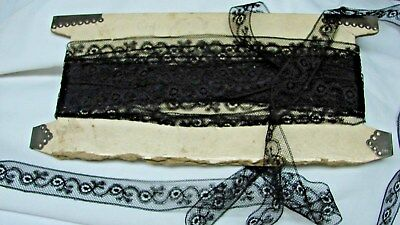 "Nearly 8 Yards Of Antique 7/8"" Wide Black Lace"