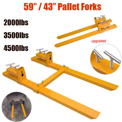 2000lb/3500lb/4500lb Clamp on Loader Bucket Skidsteer Tractor Chain Pallet Forks