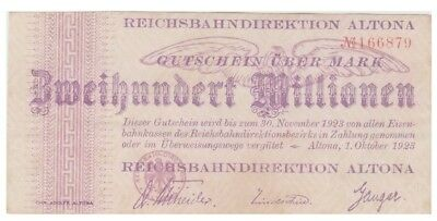2oo Millions Marks German banknote issued by ReichsBahnDirektion Altona xf