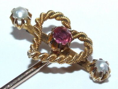 Superb Antique c1900 9ct Gold Pearl & Ruby Lovers Knott / Heart Shape Stick Pin