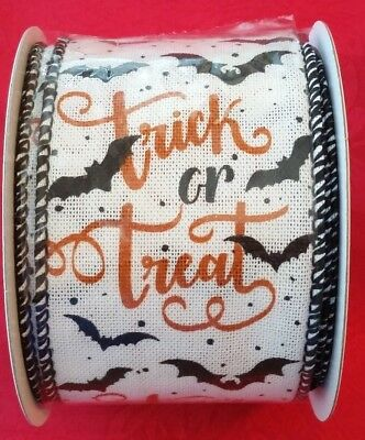 """Darice Wired Ribbon - Trick Or Treat - Halloween - Bats - 2 1/2"""" X 25Ft"""