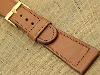 NOS Vintage 19mm Brown Calfskin Watch Band with Gold Tone Buckle Mens Unused