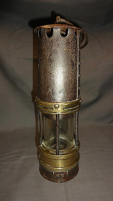 """Vintage / Old Brass & Steel 10.5"""" Welsh Miners Davy Style Lamp"""
