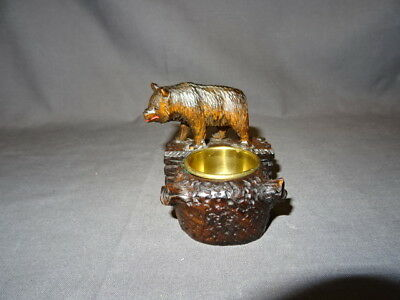 Antique 19th Century Carved Wooden Black Forest Bear - Ashtray