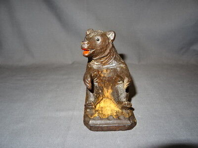 Antique 19th Century Carved Wooden Black Forest Bear - Sitting Bear + Base