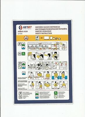Safety Card                GETJET     AIRLINES    A320   LY-FOX    01 MAR 2018