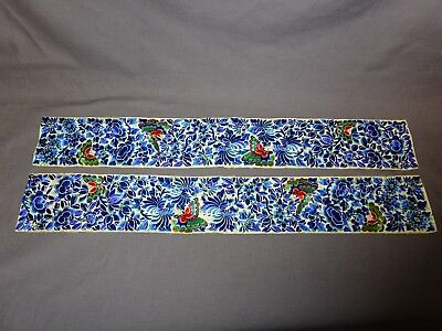 """ANTIQUE PAIR OF CHINESE EMBROIDERED SILK RANK SLEEVE CUFF PANELS 20.5"""" x 3"""""""