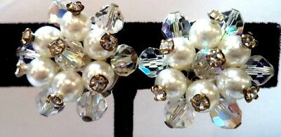"Stunning Vintage Estate Signed Pearl Craft Crystal Ab 5/8"" Clip Earrings!! 1507G"