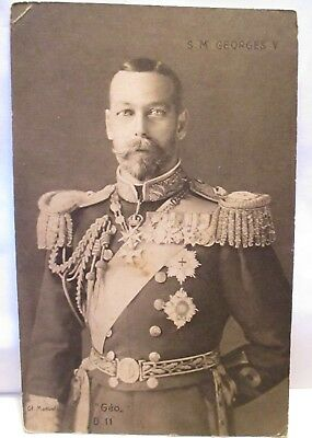 """1910 French Photo Postcard King """" S.m. Georges V """" In Dress Uniform Unused"""