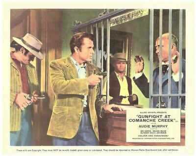 Gunfight At Comanche Creek Original Lobby Card Audie Murphy robbing bank 1963