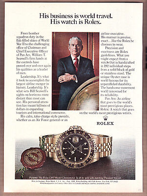 1981 Rolex GMT-Master Chronometer Ad Pan Am CEO Seawell Print Ad