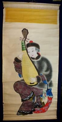 Antique Chinese Scroll Painting, Lady With Stringed Musical Instrument Pipa