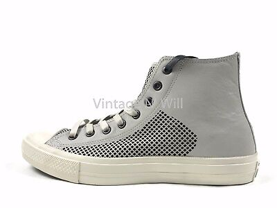 3172dfeffe6330 ... france converse x john varvatos mens 10.5 chuck ii grey high perforated  leather 156720c fba1c 596c2