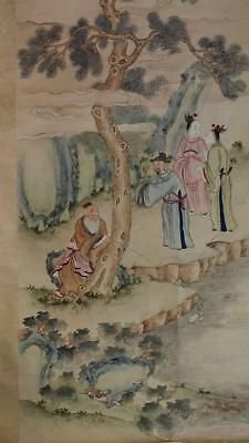 ANTIQUE CHINESE SCROLL PAINTING, FIGURES by RIVER, FROM a COLLECTION, NO RESERVE