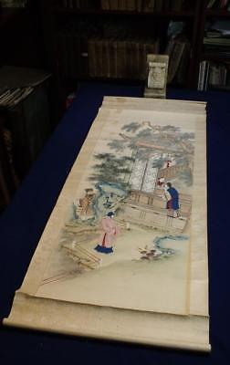 ANTIQUE CHINESE SCROLL PAINTING, LITERARY SCENE, FIGURES in GARDEN, NO RESERVE