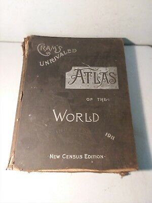 Cram's Unrivaled Atlas of the World, 1911, New Census Edition