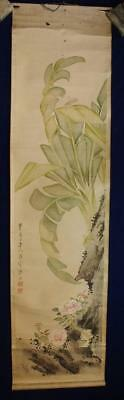 ANTIQUE CHINESE SCROLL PAINTING attrib. ZHOU YUSHI, INSECTS & PINK FLOWERS