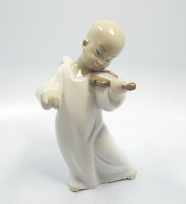 """Lladro Figurine #4536 Chinese Angel Playing Violin, Missing Bow, 6 1/4"""""""