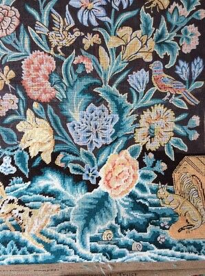 """Replica N.t.needlepoint Of """" Felbrigg Screen"""" Original C1760,on Chippendale Pole"""