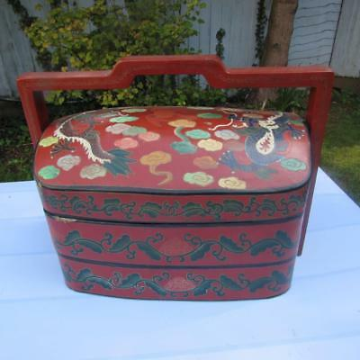 Large Antique Chinese 19thC Chinese Stacking Lacquered Box - Food  / Jewellery