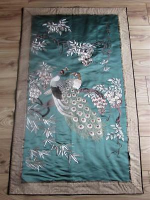 Large Antique / Vintage Chinese Hand Embroidered Silk Panel - Signed