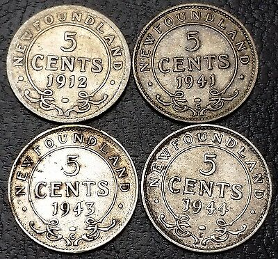 Lot of 4 Newfoundland 92.5% Silver 5 Cents Nickels - 1912, 1941c, 1943c, 1944c