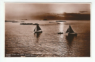 Yachts Sunset Over The Firth Of Forth North Berwick East Lothian Real Photograph