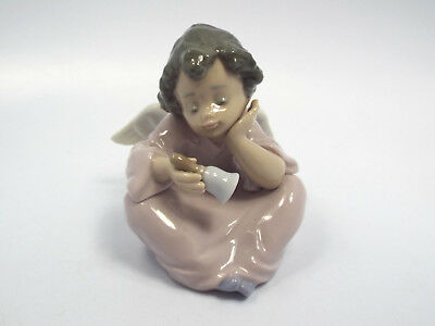 """Lladro Figurine #5723 Heavenly Chimes, Angel with Bell, 3 1/2"""""""