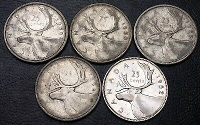 Lot of 5 Canada 25 Cents Quarters - 1952 1954 1957 1958 1959 - 80% Silver