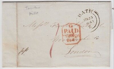 BATH 1840 pre-stamp entire *BATH-LONDON* with PAID tombstone marking