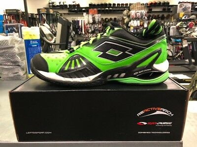 New in Box Size 10.5 10 1/2 Lotto Raptor Ultra IV Green and Black Tennis Shoes