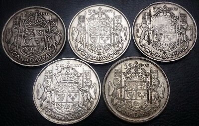 Lot of 5 Canada 50 Cents 80% Silver Half Dollars - Dates: 1941 to 1957