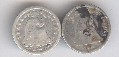 Lot of 2 - Seated Liberty Half Dimes + 1854 & 1861 + Silver + No Reserve!