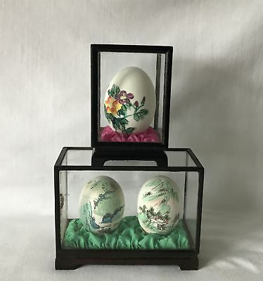 3 Vintage Chinese Oriental Painted Eggs in 2 Cases :- 1 x 2 + 1 x 1 Egg