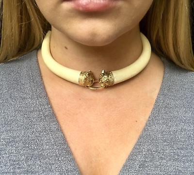 Vintage 14kt Yellow Gold Carved Bone Choker Necklace Cat Heads Rubies & Emeralds