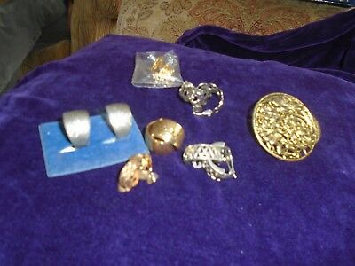 Joblot Of 7 Pairs Clip On Earrings  Vintage Retro  Wedding Ring