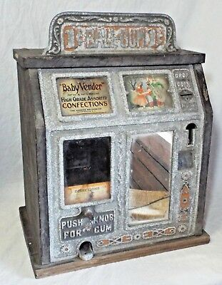 Antique c1920s-30s BURNHAM & MILLS BABY VENDOR 1 Cent Coin-Op TRADE STIMULATOR