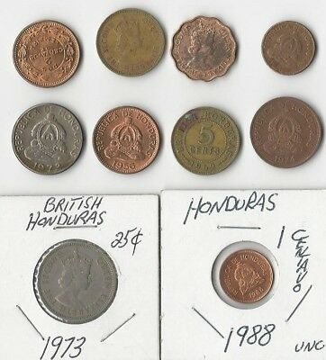 Honduras. Vintage Lot Of 10 Assorted Coins. Circulated To Nucirculated. See Pics